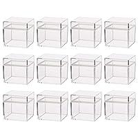 Toyvian 12ピース透明ギフトボックスプラスチック収納ボックス付き蓋5 * 5Cmスクエアキャンディートリートバッグ用ウェディングベビーシャワー誕生日イースターパーティー