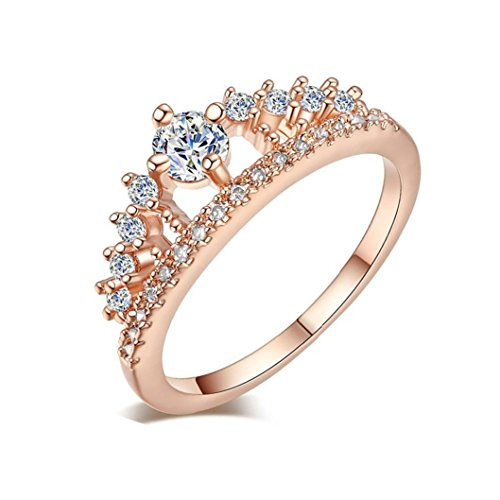 Beuu New Fashion Beauty Crown Lady Crystal Ring Princess Ring (Rose Gold, 7)