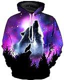 GLUDEAR Unisex 3D Pattern Print Athletic Pullover Hoodies Hooded Sweatshirts,Wolf Starry Night,S/M