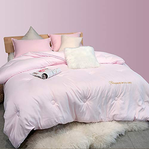 Youlubedding Winter Wool Quilt Winter Quilt Core, Thick and Warm Double Winter Quilt Australian Cashmere Quilt, Warm and Thermal Storage, Soft and Comfortable,Pink,200 * 230CM