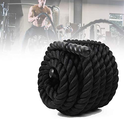 Equipo de polea con cable, Cuerda de batalla de entrenamiento deportivo de estilo negro de 9M, cuerda de batalla de trabajo pesado ejercicio fitness bootcamp entrenamiento gimnasio MMA, 38 cm de ancho