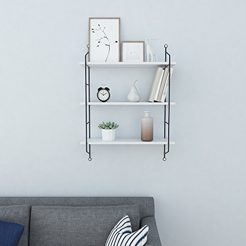 Homdox 3-Tier Industrial Floating Shelves Wall Mounted Display Wall Shelf Storage Rack Wall Rack Holder Rack(White)