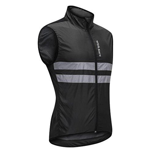 Homyl Reflektierende Fahrradweste/Laufweste/Radweste/Atmungsaktiv und Winddicht/Wasserabweisend/Reflektoren Radfahren Radsport Reiten Weste - L