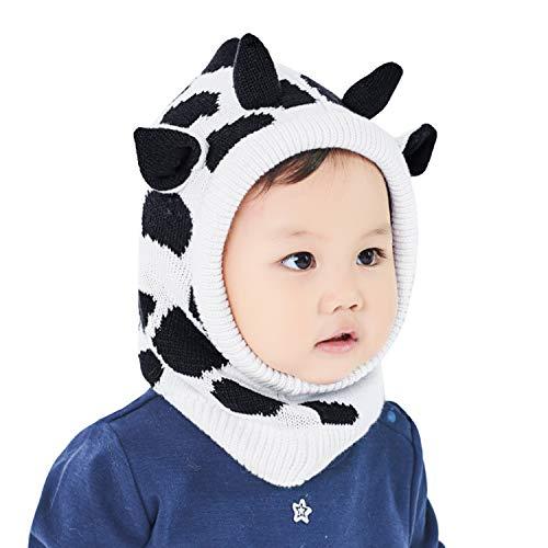 Hawiton Caliente Conjunto de Gorro de punto para niñas y niños otoño invierno, bebés suaves forro de lana Sombreros,0-3 años