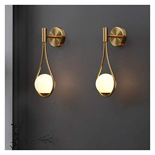 Drdcsad Wall lamp Personality creative living room metal wall lamp fashion modern minimalist model bedside glass wall lamp bedroom (Color Temperature : Warm White, Lampshade Color : Black color)