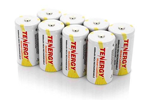 Combo: 8pcs Tenergy D Size 5000mAh NiCd Button Top Rechargeable Batteries