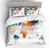 Kseyic Juego de ropa de cama multicolor estilo mapamundi, funda nórdica con cremallera y 1/2 fundas de almohada, 100% poliéster, para niños y jóvenes (c, 220 x 260)