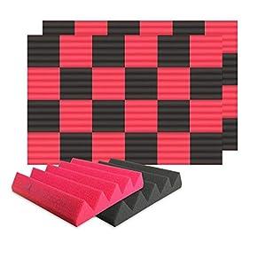 Arrowzoom 48 Panels Cuña Wedge absorción de sonido Espuma acústica Absorcion aislamiento acustico auto extinguible 25x25x5cm Negro & Rojo