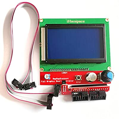 iHaospace 3D Printer LCD12864 Version Graphic Smart Display Controller Module with Adapter and Cable for RAMPS 1.4 Reprap 12864 LCD Display