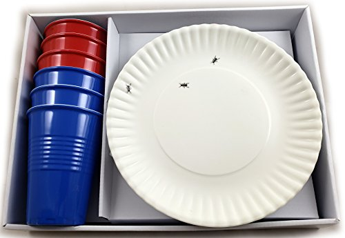 All American 6 Piece Plates and Cups Set Melamine New Picnic Classic(12 Piece Set)