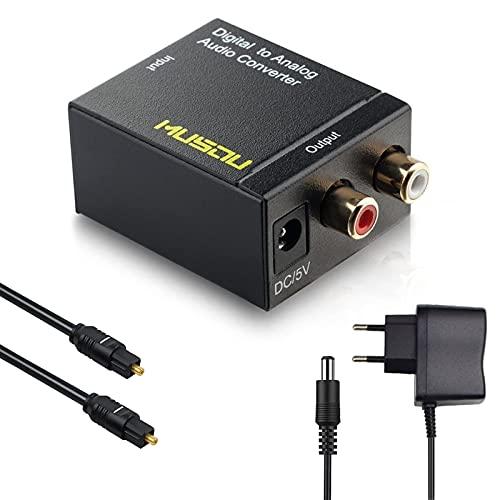 Musou DAC de Audio Convertidor Digital Analógico Óptica o Coaxial a RCA Adaptador Toslink y SPDIF to R/L