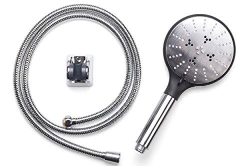 Design Handbrause INOX | Hochwertiger Duschkopf aus Carbon und Edelstahl | 3-strahlig | Badewannen-Set bestehend aus großem Duschkopf mit Ø 130 mm, Wandhalterung und Brauseschlauch 150 cm