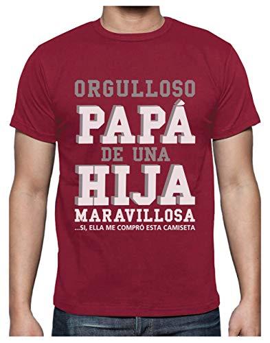 Green Turtle T-Shirts Camiseta para Hombre - Regalos para Hombre, Regalos para Padres. Camisetas Hombre Originales y Divertidas - Orgulloso Papá de una Hija Maravillosa XX-Large Burdeos
