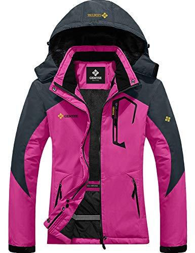 GEMYSE wasserdichte Berg-Skijacke für Frauen Winddichte Fleece Outdoor-Winterjacke mit Kapuze (Rosenrot Grau,S)