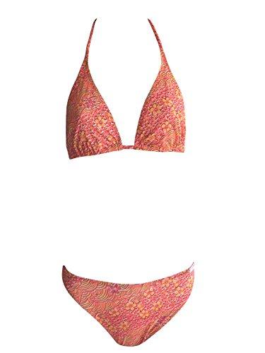 Solar Tan Thru Triangel-Neckholder-Bikini rot/orange, Gr. 38 B-Cup