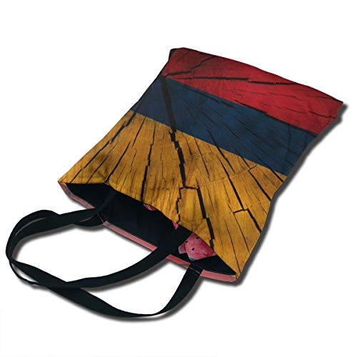 Wooden Texture Flag Colombia Columbia Printing Canvas Bag Unique Reusable Fancy Durable Canvas Plain Tote Bags In Bulk Tote Carrying Travel Bag Shopping Bag Foldaway