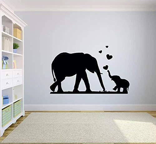 HGFDHG Elefante amor pegatinas de pared animales salvajes niños dormitorio cuarto cuarto de estudio hogar decoración puertas y ventanas vinilo pegatinas arte papel pintado