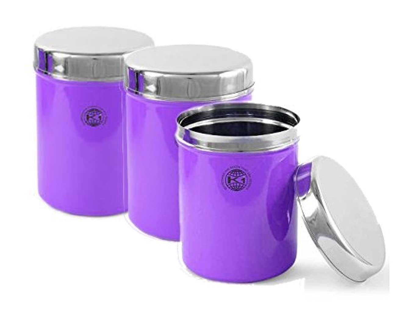 King International Stainless Steel Purple Multipurpose Storage Box,Container Set Of 3 Piece, 13 cm, 1000 ml