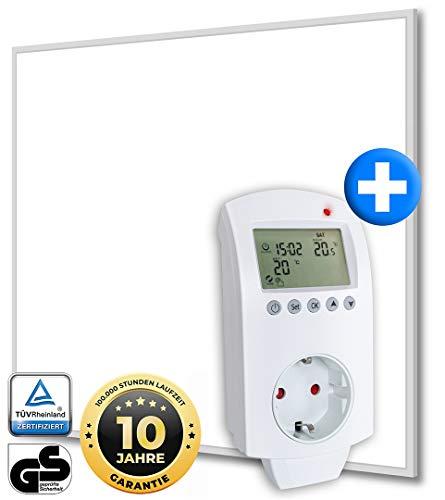 Heidenfeld Infrarotheizung HF-HP110 Weiß + Steckdosenthermostat HF-DT100-10 Jahre Garantie - Deutsche Qualitätsmarke - TÜV GS - 1200 Watt - 14-28 m² (HF-HP110 1200 Watt)
