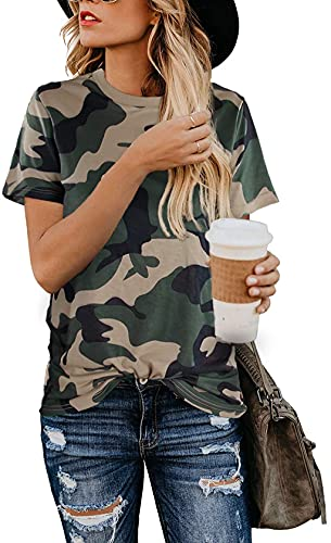 Blooming Jelly Womens Leopard Print Tops Short Sleeve Round Neck Casual T Shirts Tees (Large, Camo)
