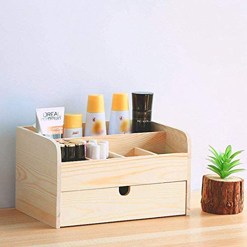 Multifunctionele make-up tas Opslag Cosmetische Storage New Desktop Office Storage Shelf Planken Cosmetics Storage Box Rack Lade Grote Houten kaptafel Make-up tas (Color : Wood)