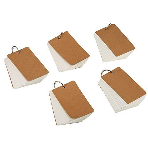 Lernkarte Pocket,Karteikarten 5er Pack Papierkarten mit Ring Memo Blanko Flash Card zur Überarbeitung des Wortschatzes DIY Weiß 9 * 5.5CM