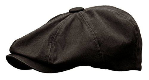 Rooster Washed Cotton Newsboy Gatsby Ivy Cap Golf Cabbie Driving Hat (Large, Black)