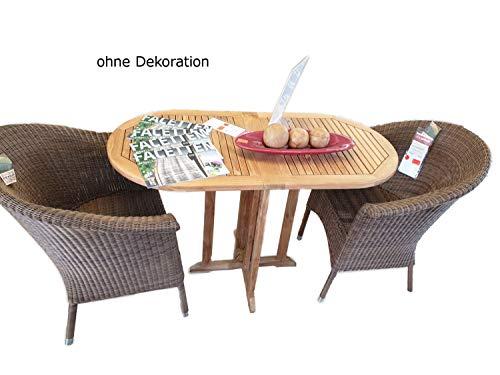 casamia Tuinzitgroep Balcony balkon-klaptafel ovaal van teakhout en 2 rieten stoelen San Remo