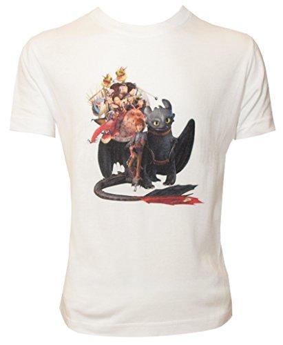 Dragons DreamWorks Kinder T-Shirt Ohnezahn Toothless Family, weiß (116-122)