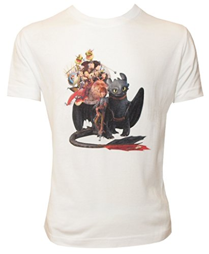 Dragons DreamWorks Kinder T-Shirt Ohnezahn Toothless Family, weiß (116-122)