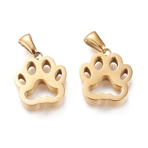 DanLingJewelry 10 abalorios de acero inoxidable 304 con diseño de huellas de animales y gatos y perros, para hacer joyas
