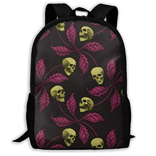 Homebe Rucksäcke,Daypack,Schulrucksack Classic Backpack ★ Psychobilly Cherry Skull Travel Laptop Backpack, Extra Large College School Student Backpack for Men and Women
