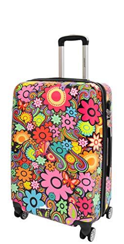 4 Wheels Multicoloured Hard Shell Luggage Lightweight Travel Suitcases Bag HLG688 (Medium : 66x42x26cm, 3.7kg)