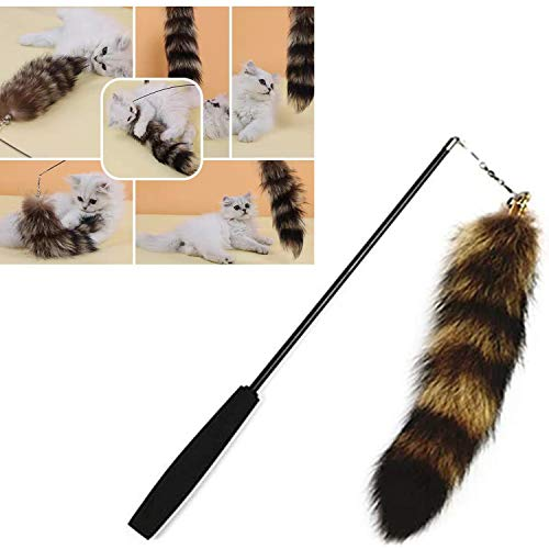 YUYUYU Retractable Cat Toys, Cat Fishing Toy ?Simulated Fox Tail Cat Teaser Wands, Big Tails, 37-100cm, Cat Favorite Toys.