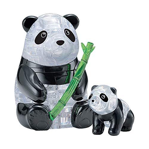 HCM Kinzel Crystal Puzzle 59179 3D Panda Pair 51 Pieces, Grey/Black
