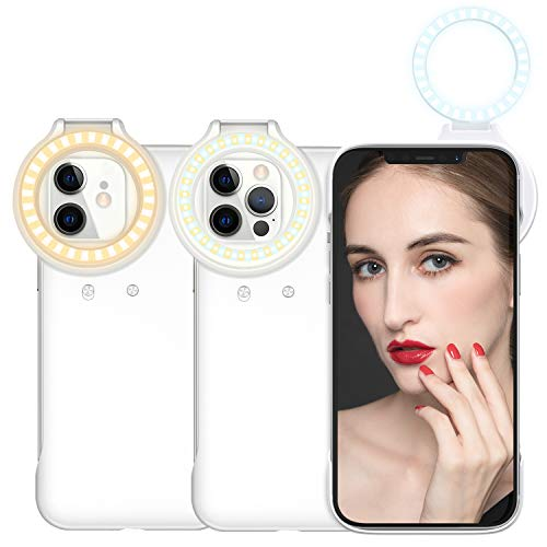 Selfie Ring Light Phone Case for iPhone 12 /iPhone 12 Pro, OLV 54 LED Light up Phone case 3 Light Modes Illuminate for Women to Live Streaming/Makeup Tutorial/YouTube Video/Tiktok Photography/Selfie