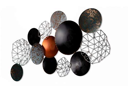KunstLoft Extravagante Metall Wandskulptur 'Galactic Space' 125x64x7cm | Design Wanddeko XXL handgefertigt | Luxus Metallbild Wandrelief | Kreise Blau Rund | Wandbild modern