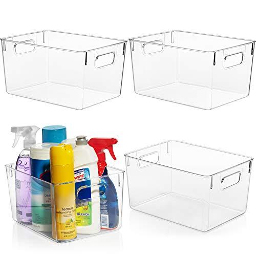 ClearSpace Plastic Storage Bins – Perfect Kitchen Organization or Pantry Storage – Fridge Organizer, Pantry Organization and Storage Bins, Cabinet Organizers - 4 Pack