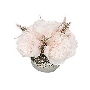 Sweet Home Deco Silk Peony Arrangement in Silver Ceramic Vase Table Flower Home Decor Wedding Centerpiece