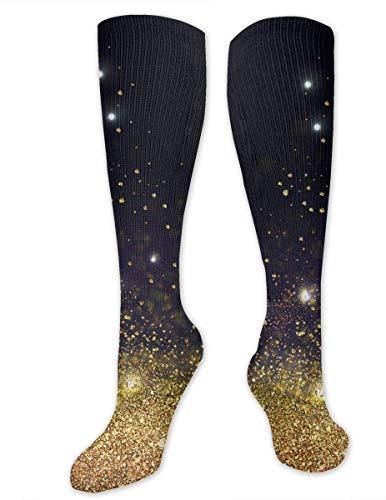Nifdhkw Gold, Flash, Black Compression Socks Training Socks Crew Athletic Socks Long Sport Soccer Socks Soft Knee High Sock Christmas Socks for Men Women