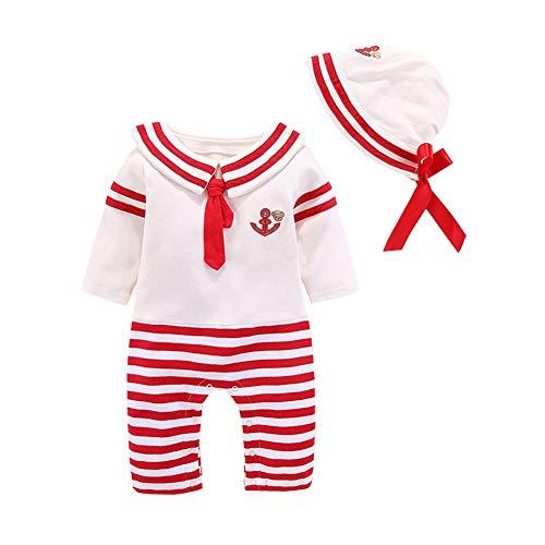 ALLAIBB Bebé Disfraz de Marinero Azul Marino Romper Corbata de moño a Rayas Onesies Gorra 3-9M Size 6M (Rojo)