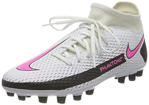 Nike Unisex Phantom GT Academy Dynamic Fit AG Soccer Shoe, White/Pink Blast-Black-Black, 44 EU