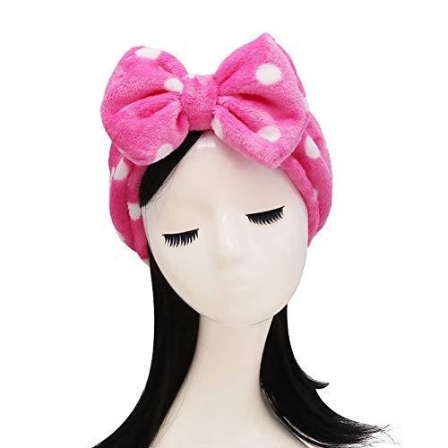 Shintop Make-up Stirnband Superweiches Kosmetik Haarband Haarreif aus Flanell für Spa Gesichtsreinigung Gesichtspflege (Rose Rot, Punktmuster)