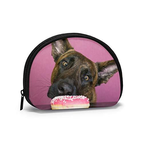 Holländischer Schäferhund mit Donuts und Wilden Tieren Kleine Geldbörse für Frauen Niedliche Münztasche für Mädchen Mini-Münztasche Aufbewahrungstasche Shell Wallet