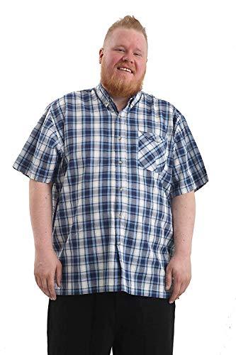 Brooklyn Imports LTD Taglia Grande da Uomo Manica Corta Casual Camicia con Taschino sul Petto Disponibile in 2XL-6XL - Blu a Scacchi, 4XL