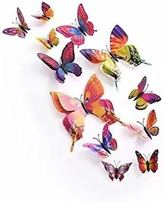 Waymeduo 12 Pieces 3D Butterfly Stickrs Fashion Design DIY Wall Decoration House Decoration Babyroom Decoration