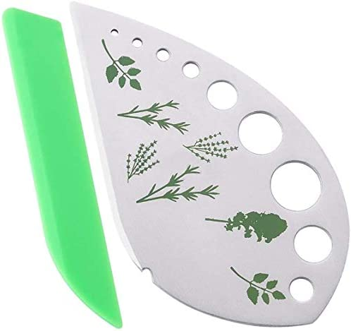 Herb Stripper Jiaedge Green 9 holes Stainless Steel Kitchen Herb Leaf Stripping Tool Metal Herb product image