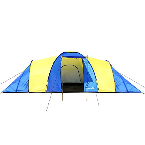 Peaktop Bedrooms 1 Large Living Room 9 Persons Camping Tent Family Group Double Poles Hiking Beach Outdoor Tunnel Dome 3000mm Waterproof &UV Coated Bright Color (9-Persons)