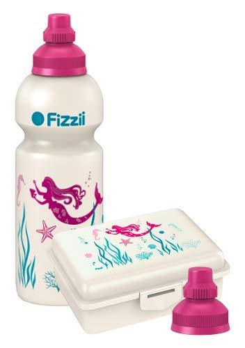 Fizzii Set Trinkflasche 600ml + Lunchbox inkl. Obst-/ Gemüsefach (schadstofffrei, spülmaschinenfest, Motiv: Meerjungfrau)