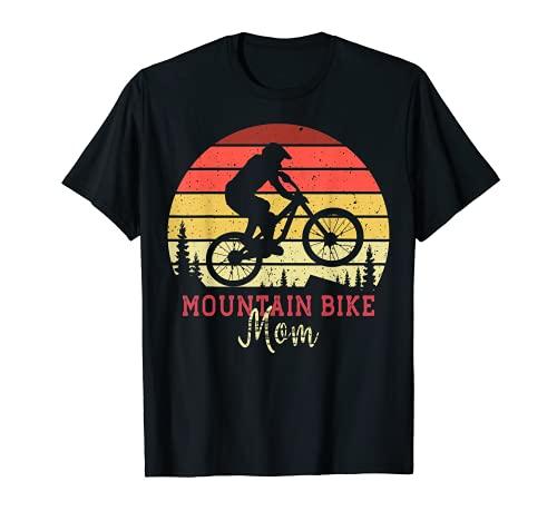 mountain bike moma Mountain Bike Mom with Vintage Sunset Maglietta